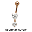 Heart n Round Belly CZ Crystal SSCBP-24