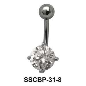 Prong Set Round Brilliant Belly CZ Crystal SSCBP-31-8