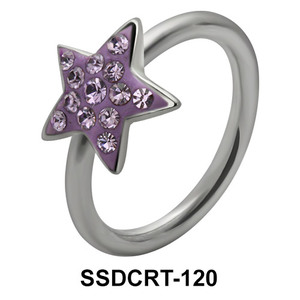 Rainbow Star Belly Closure Ring SSDCRT-120
