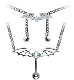 Wing Shape Belly Piercing Chain SSUBBP-02