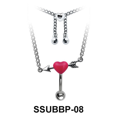 Pierced Heart Belly Piercing Chain SSUBBP-08
