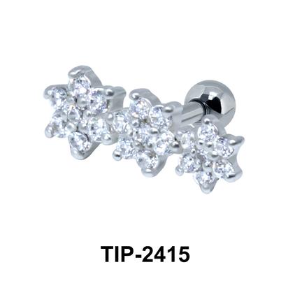 Beautiful Flower CZ Helix Ear Piercing TIP-2415