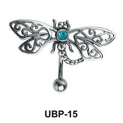 Stone Set Filigree Belly Piercing UBP-15