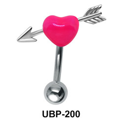 Fluorescent Pink Heart Sign Belly Piercing UBP-200
