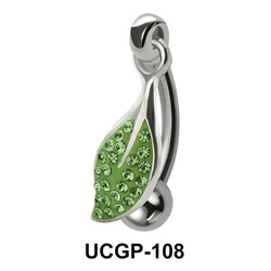 Stone Set Green Leaf Rainbow Line UCGP-108