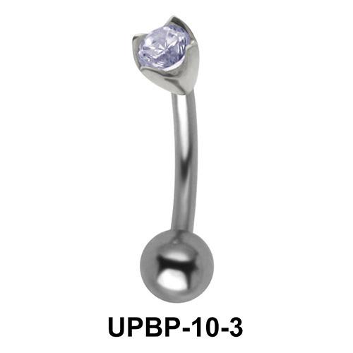 Prong Stone Set Upper Belly Piercing UPBP-10-3