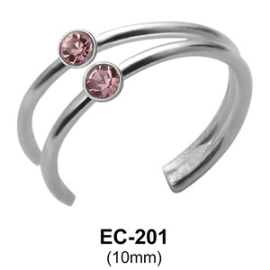 Double Stone Set Dual Ring Ear Clips EC-201
