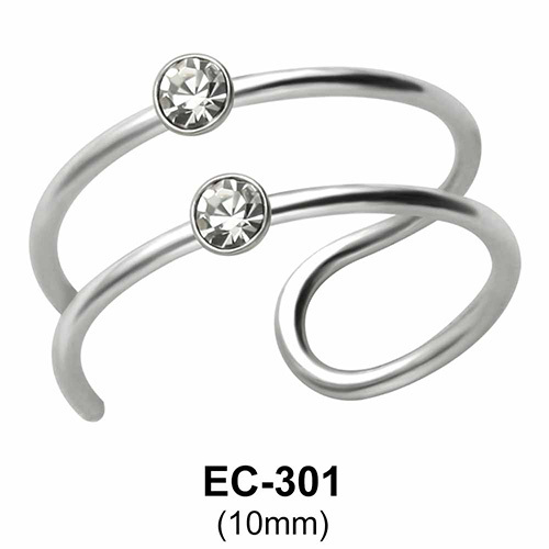 Stone Bezel Set Ear Clips EC-301