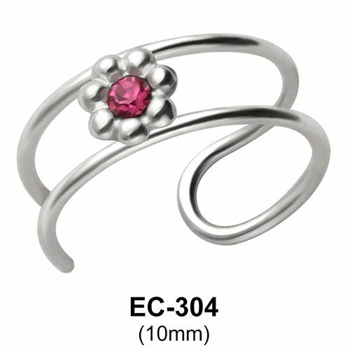 Stone Set Flower Ear Clips EC-304