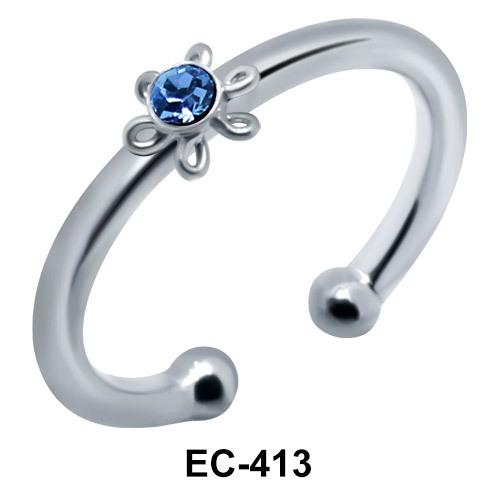 Blue Stone Set Flower Ear Clips EC-413