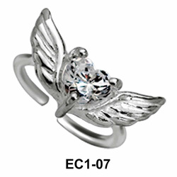 Butterfly with Stone Silver Ear Clips EC1-07