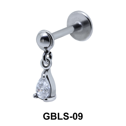 Pear Prong Set Stone External Dangling Ear Piercing GBLS-09