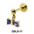 Bow Stone Set External Dangling Ear Piercing GBLS-11