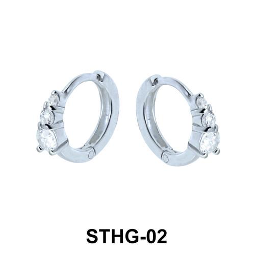 CZ Stone Ear Piercing Rings STHG-02