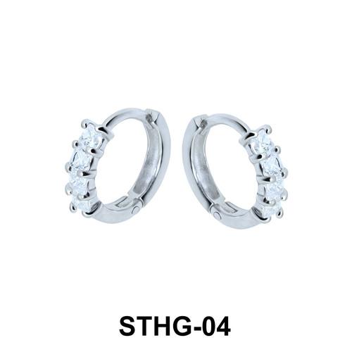 CZ Stone Ear Piercing Rings STHG-04