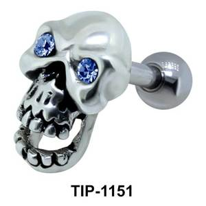 Stone Set Skull Shaped Helix Piercing TIP-1151