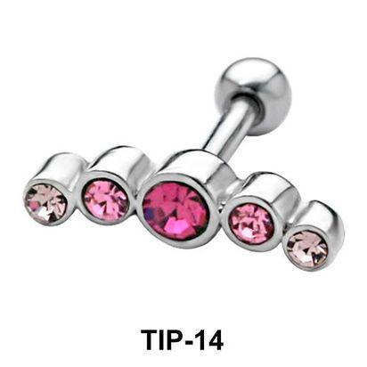 Pink Stones Helix Ear Piercing TIP-14