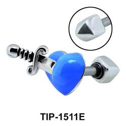 Blue Pierced Heart Helix Ear Piercing TIP-1511E