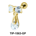 Pear Stone Dangling from Bow Piercing TIP-1563