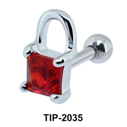 Red Stone Lock Helix Ear Piercing TIP-2035