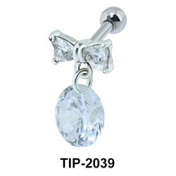 Hanging Stone Bow Helix Ear Piercing TIP-2039