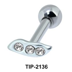 Multistone Leaf Helix Ear Piercing TIP-2136