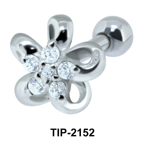 Flower with Stones Helix Ear Piercing TIP-2152