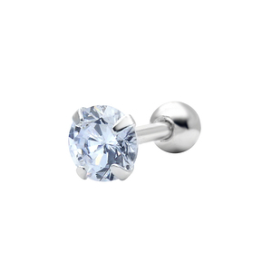 Round CZ Stone Silver Helix Ear TIP-2517
