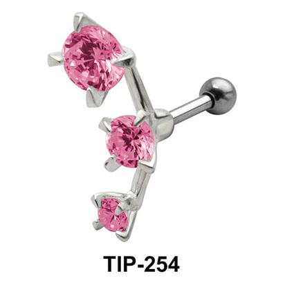 Pink Stones Helix Ear Piercing TIP-254