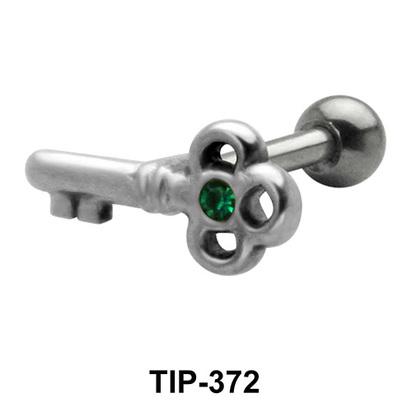 Stone Set Key Shaped Helix Piercing TIP-372