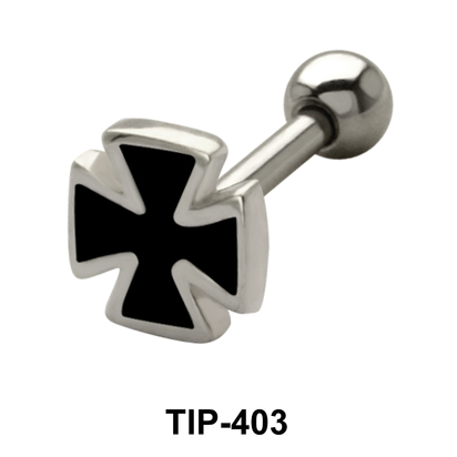Enameled Cross Shaped Helix Piercing TIP-403