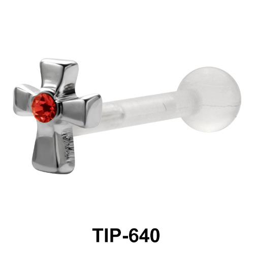 Stone Set Cross Upper Ear Piercing TIP-640