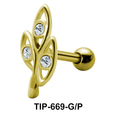 Stone Set Leaves Shaped Helix Piercing TIP-669