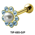 Pearl and Stones Set Helix Piercing TIP-685