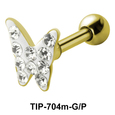 Stone Studded Butterfly Shaped Helix Piercing TIP-704m