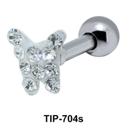 Stone Studded Butterfly Shaped Helix Piercing TIP-704s