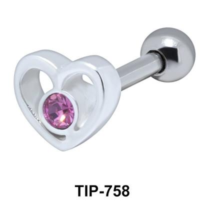 Stone Set Heart Shaped Helix Piercing TIP-758