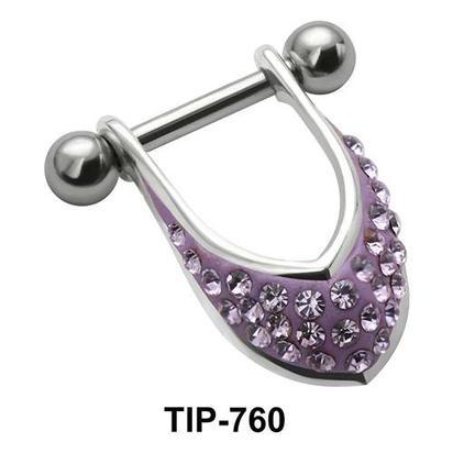 Stone Studded Dangler Upper Ear Cartilage Mini Shields TIP-760
