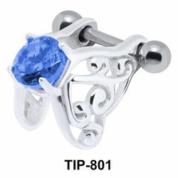 Stone Set Butterfly Dangler Upper Ear Cartilage Shields TIP-801