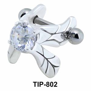 Stone Set Leaves Shaped Upper Ear Cartilage Shields TIP-802
