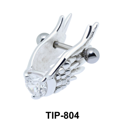 Stone Set Wings Dangler Upper Ear Cartilage Shields TIP-804