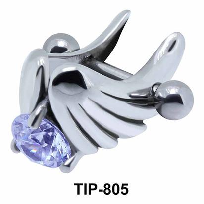 Stone Set Wings Upper Ear Cartilage Shields TIP-805