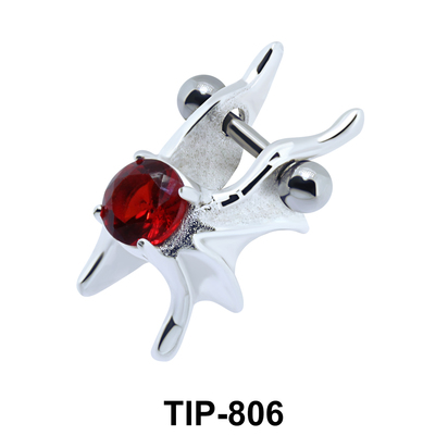 Stone Set Wings Upper Ear Cartilage Shields TIP-806