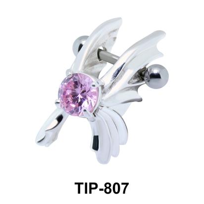 Stone Set Wings Dangler Upper Ear Cartilage Shields TIP-807