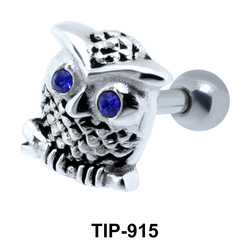 Stone Set Owl Shaped Helix Piercing TIP-915