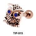 Stone Set Owl Shaped Helix Piercing TIP-915