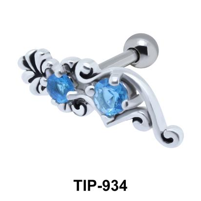 Double Stone Radiant Helix Ear Piercing TIP-934