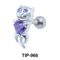 Cat with Stone Upper Ear Fancy TIP-966