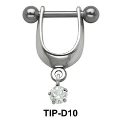 Prong Set Stone Dangler Upper Ear Cartilage Shields TIP-D10