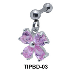 Stone Set Flower Shaped Upper Ear Dangling Charms TIPBD-03